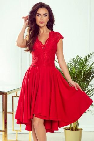 Официална асиметрична рокля в червено с късо ръкавче (RO99143)