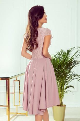 Официална асиметрична рокля в мръсно розово с късо ръкавче (RO99144)