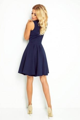 Разкроена рокля с остро деколте в тъмно синьо (RO99148)