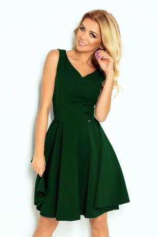 Тъмно зелена разкроена рокля с остро деколте (RO99149)