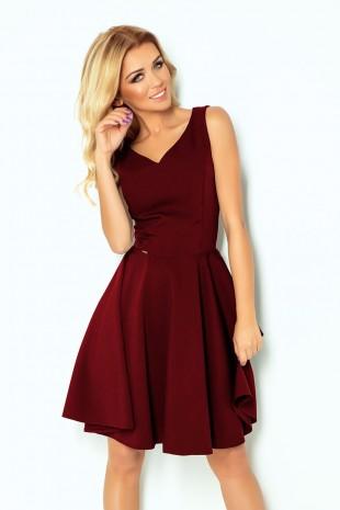 Разкроена рокля с остро деколте в бордо (RO99150)