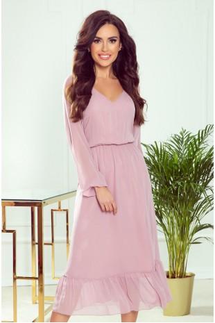 Нежна официална рокля с дължина под коляното и ефирни ръкави (RO99151)
