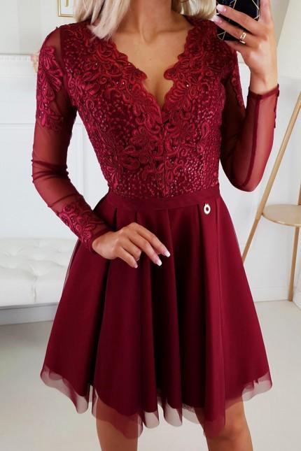 Уникална официална рокля с красива дантела в цвят бордо (RO99200)