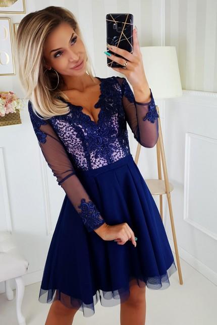 Уникална официална рокля с красива дантела в тъмно синьо (RO99201)