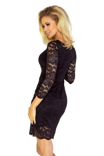 Ослепителна официална дантелена рокля в черно(R9528)