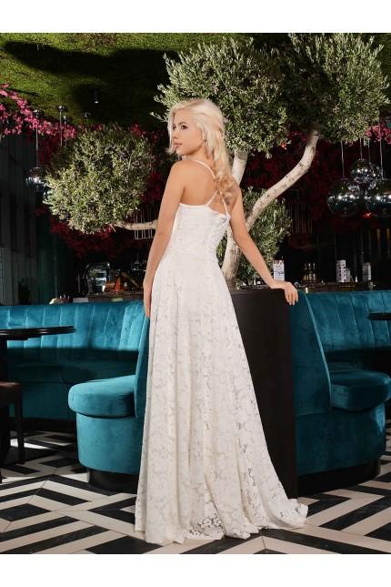 Вълшебна бяла дантелена официална рокля с тънки презрамки(R9635)
