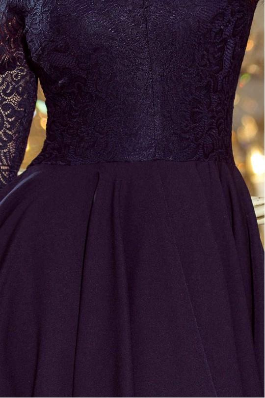 Изящна официална рокля с красива дантела и асиметрична долна част  (R9687)