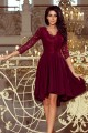 Красива официална рокля в бордо с красива дантелена горна част (R9691)