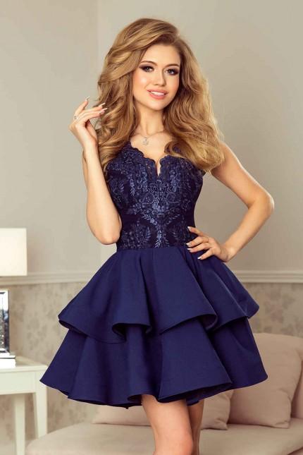 Пленителна разкроена официална рокля с дантела в тъмно синьо (R9708)