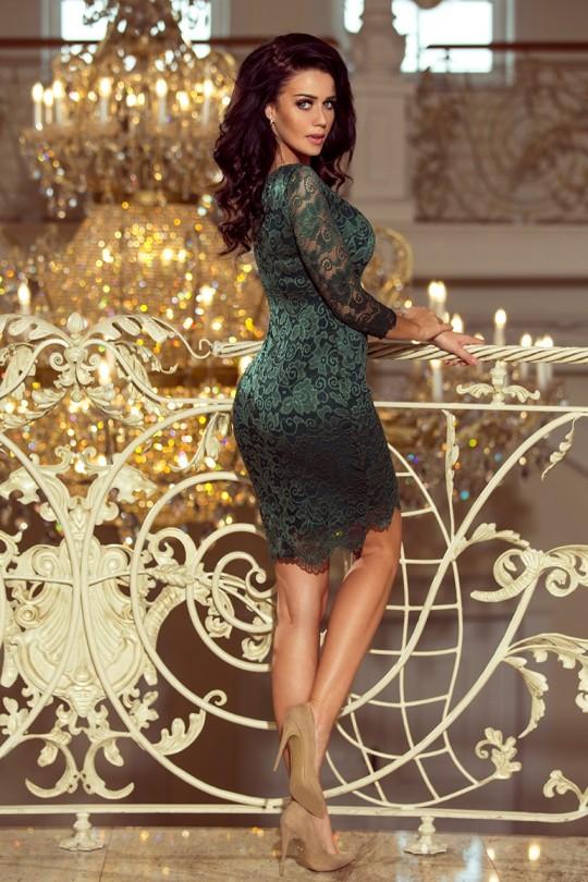 Изящна дантелена официална рокля в зелено (R9729)
