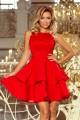 Красива официална разкроена рокля с дантела в червено (R9741)