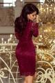 Дантелена официална рокля с дълги ръкави в цвят бордо (R9747)