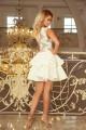 Нежна официална разкроена рокля с красива дантелена горна част (R9762)