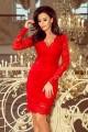 Дантелена официална рокля с дълги ръкави в червено (R9957)