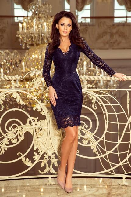 Дантелена официална рокля с дълги ръкави в тъмно синьо (R9958)