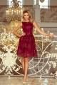 Разкошна официална рокля с дантела в бордо (R9959)