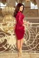 Официална дантелена рокля с красиви ръкави в цвят бордо (R9998)
