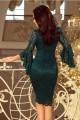 Официална дантелена рокля с красиви ръкави в зелено (R9999)
