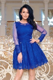 Официална разкроена дантелена рокля с тюлени ръкави в кралско синьо (RO99037)