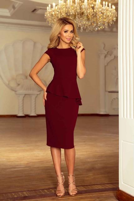 Красива официална рокля в стилно бордо с пеплум (R9686)