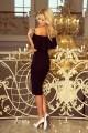 Ефектна официална рокля до коляното с голи рамене (R9688)