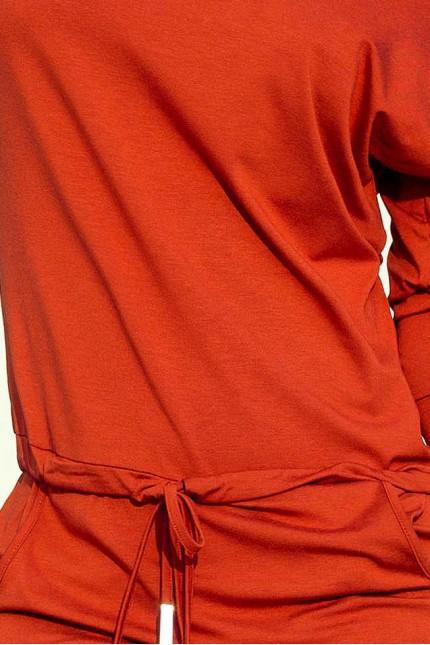 Оранжева ежедневна рокля с джобове (R9700)