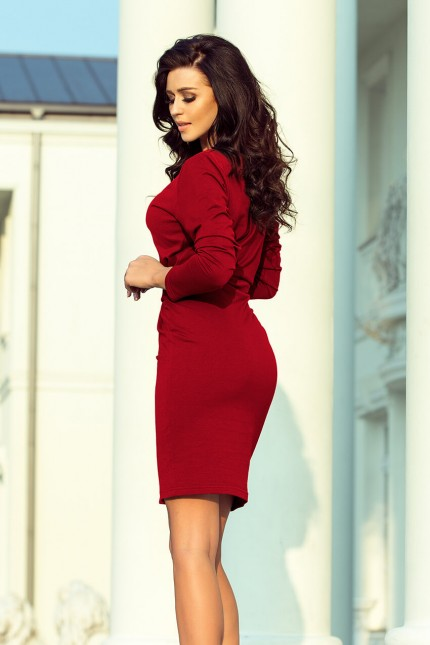Стилна ежедневна рокля с коланче в цвят бордо (R9757)