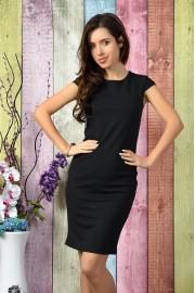 Стилна черна ежедневна рокля (R9786)