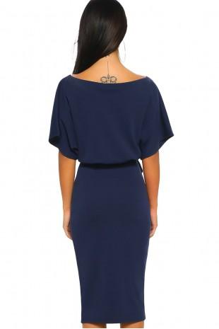 Удобна ежедневна рокля в тъмно синьо с колан (RO99065)