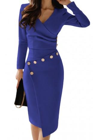 Стилна ежедневна офис рокля с асиметрична долна част в синьо (RO99081)