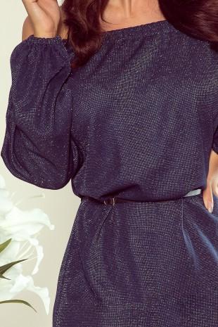 Свободна тъмно синя рокля с колан и дълги широки ръкави (RO99088)