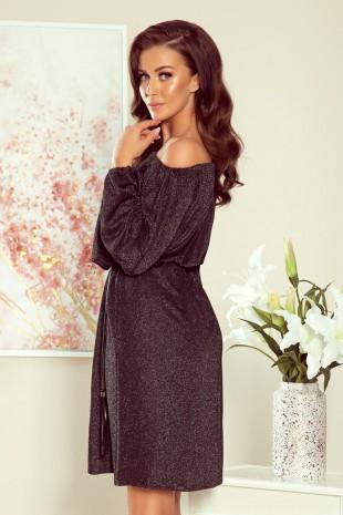 Черна рокля с паднали рамене и широки дълги ръкави (RO99089)