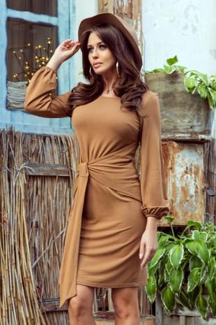 Светло кафява ежедневна рокля с интересен дизайн и дълги ръкави (RO99091)