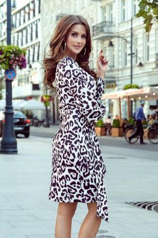 Удобна ежедневна рокля с дълги ръкави в интересен принт (RO99092)