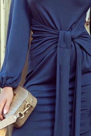 Тъмно синя ежедневна рокля с интересен дизайн и дълги ръкави (RO99093)