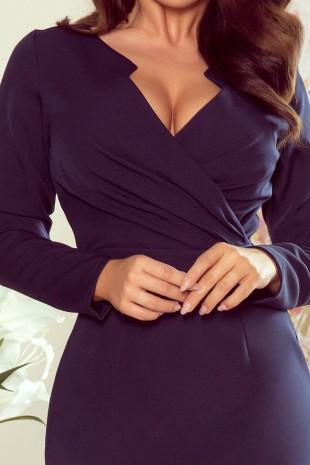 Елегантна рокля в тъмно синьо с дълги ръкави (RO99118)