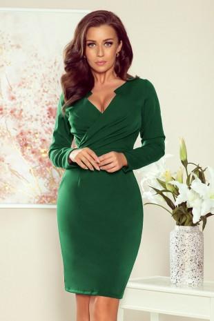 Елегантна рокля в зелено с дълги ръкави (RO99119)