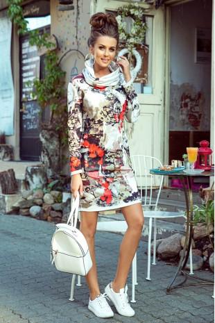 Цветна ежедневна рокля с дълъг ръкав (RO99157)
