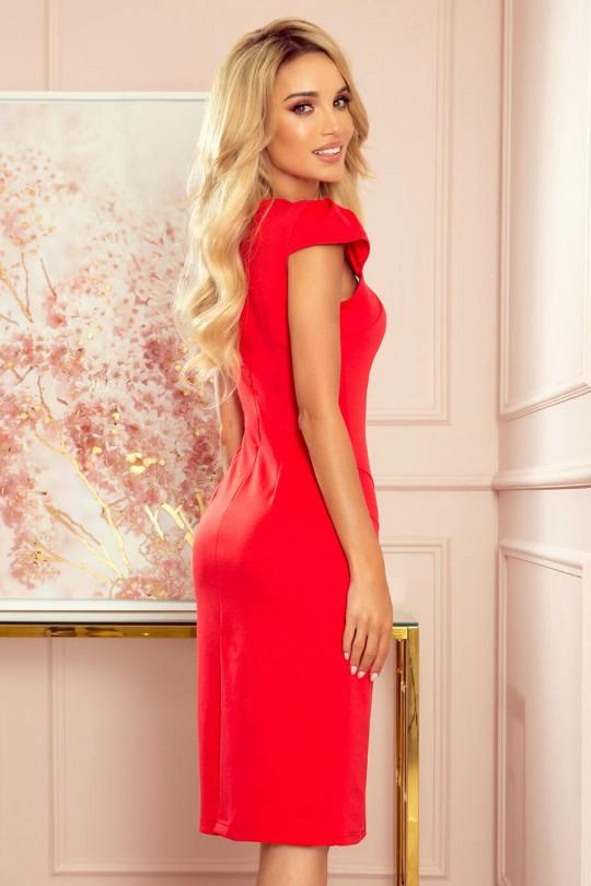 Грациозна официална рокля до коляното в червено (RO99186)