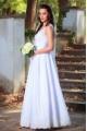 Вълшебна сватбена рокля със сатенена пола и дантела (RO99068)