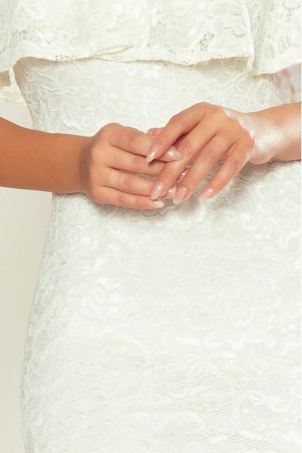 Красива бяла официална дантелена рокля до коляното с паднали рамене (RO99086)