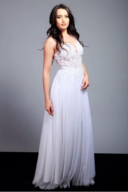 Прелестна сватбена рокля с красива дантела и тюлена пола (RO99138)