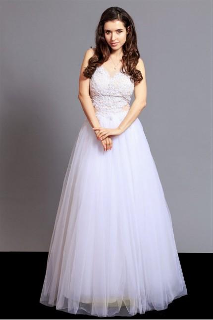 Вълшебна сватбена рокля тип принцеса с мъниста и нежна тюлена пола ( RO99140)