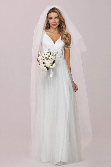 Възхитителна дълга бяла рокля с красиви дантелени апликации (RO99247)