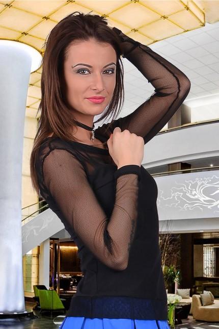 Фешън блузка с мрежести ръкави(T2049)