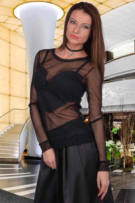 Изкушаваща блузка от мрежа с дълги ръкави(T2050)