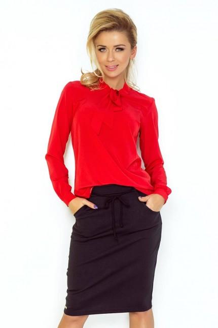 Елегантна блуза с дълги ръкави в червено(T2052)