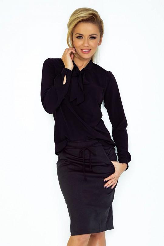 Елегантна блуза в черно с дълги ръкави(T2053)