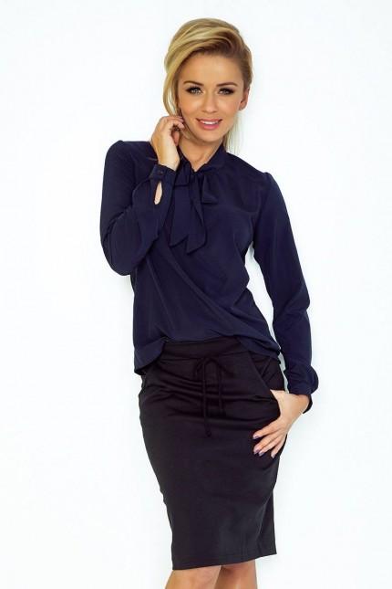 Елегантна блуза в тъмно синьо с дълги ръкави(T2054)