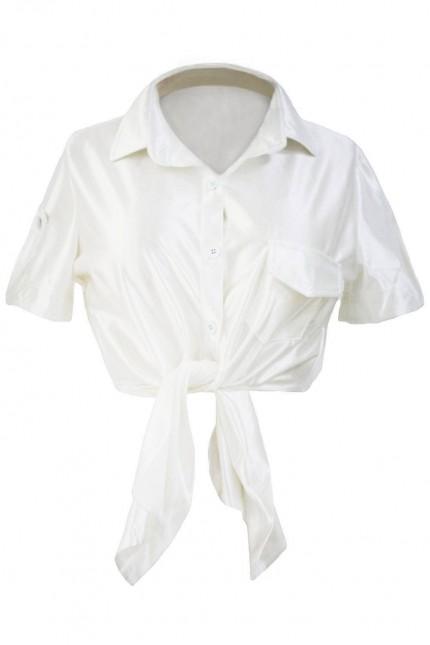 Предизвикателна бяла риза с къс ръкав(T2066)